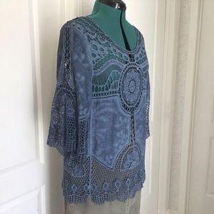 Minkas Blue Bohemian-style Crochet Top, Medium